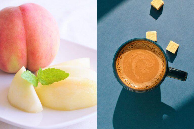 8月発送分→さわやかな酸味と濃厚な甘みが魅力の県産桃をお届け『Komachi×SUZUKI COFFEE おうちでハッピー カフェ&スイーツBOX』